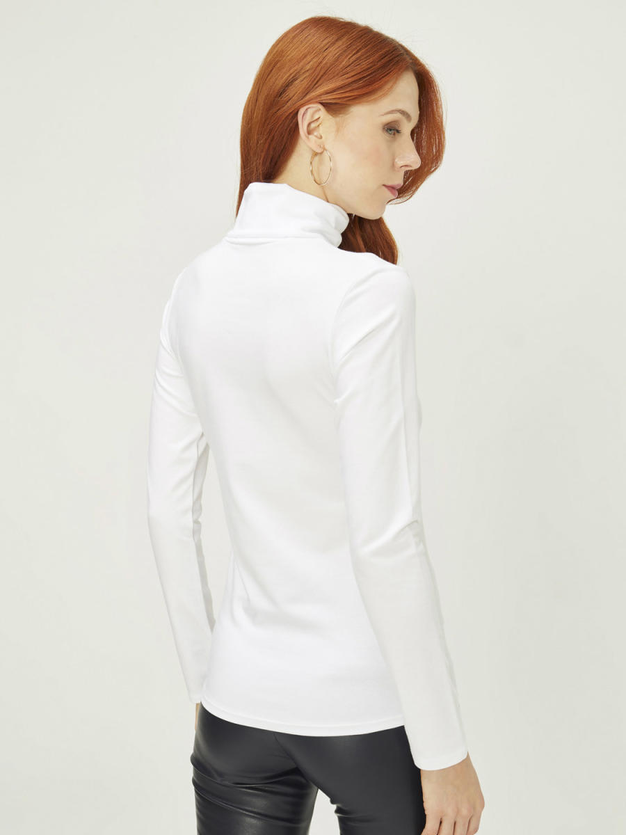 Dik Yaka Uzun Kollu Modal Basic Tişört