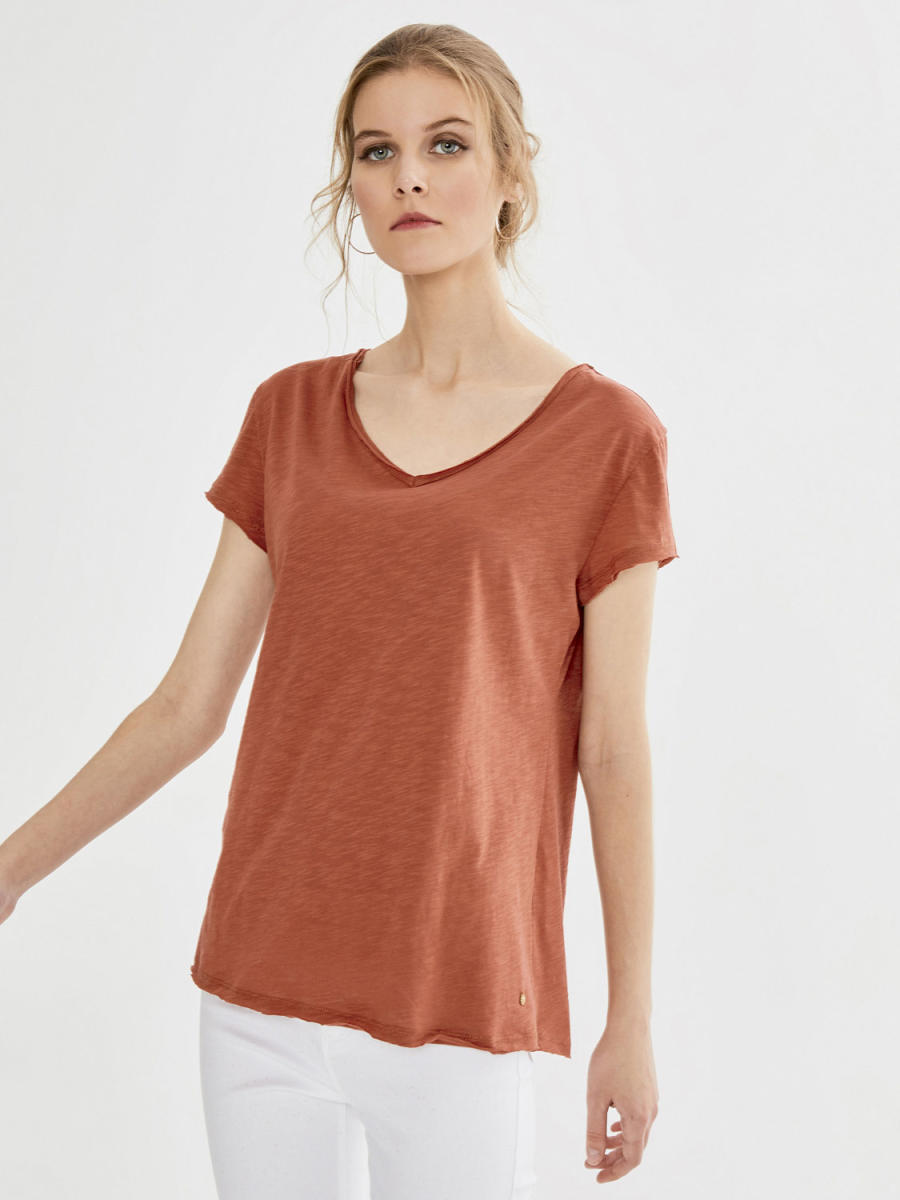 V Yaka %100 Pamuk Basic Tişört