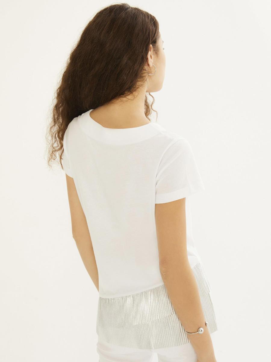 Xint Yuvarlak Yaka Eteği Garnili Tişört