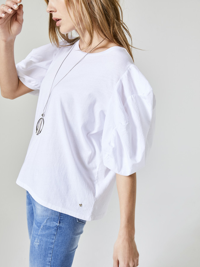 Xint Yuvarlak Yaka Kolları Balonlu Tişört - Thumbnail