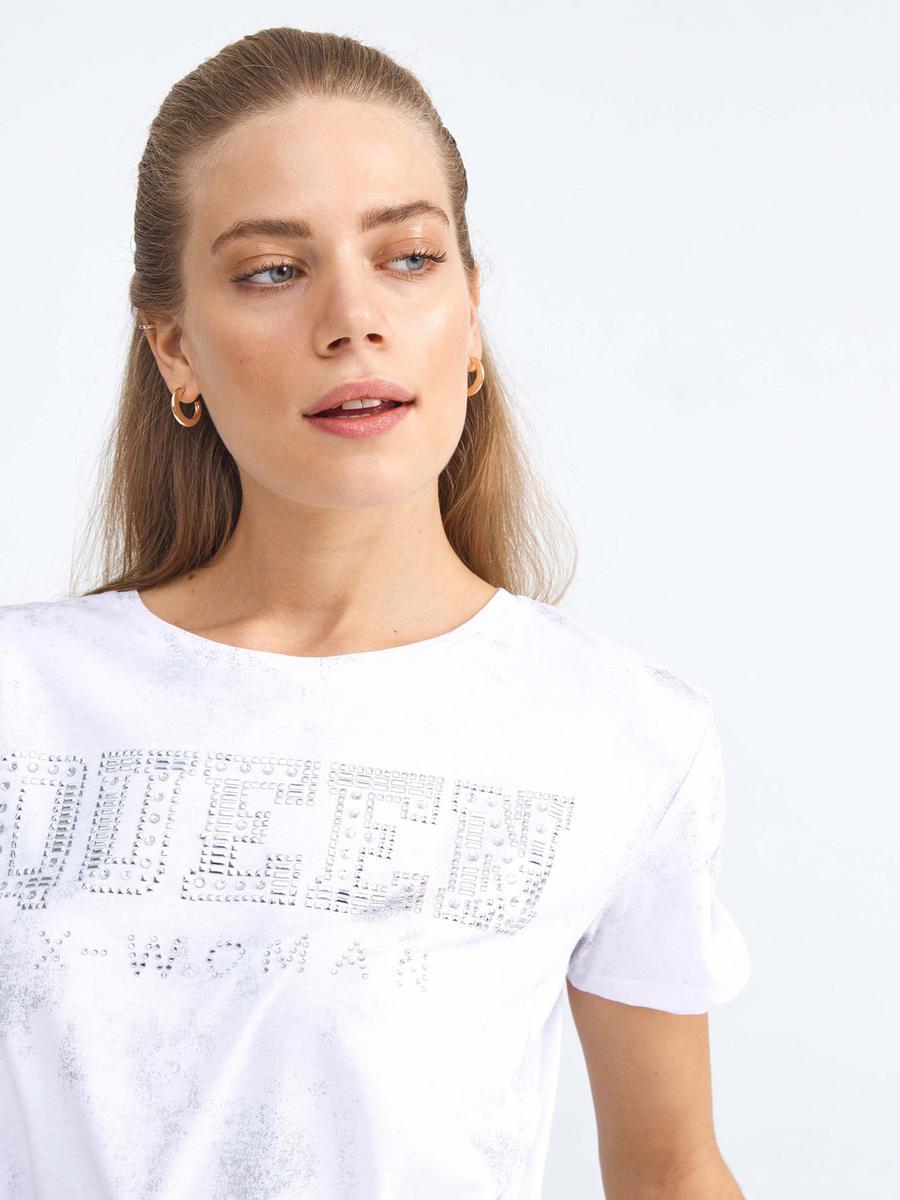 Yuvarlak Yaka Pamuklu Rahat Kesim Baskılı Tişört