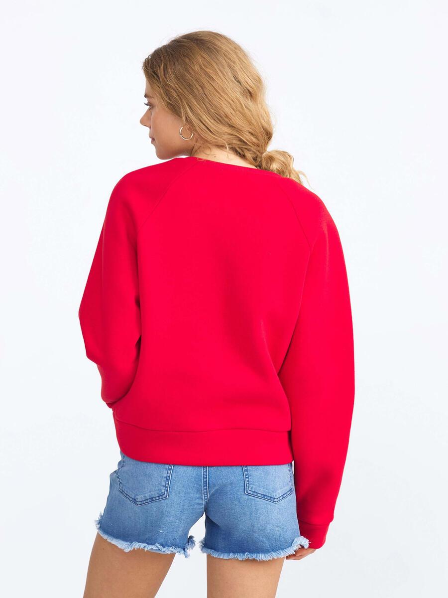 Pamuklu Rahat Kesim Baskılı Vatkalı Sweatshirt