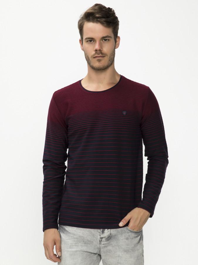 MCL - MCL Bisiklet Yaka Bordo Renk Sweatshirt