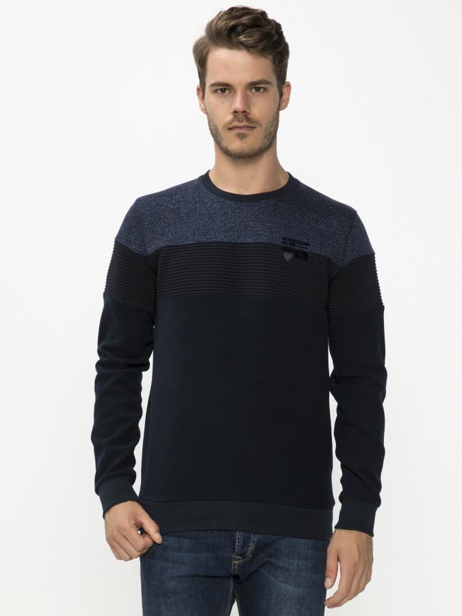 MCL - MCL Bisiklet Yaka Lacivert Renk Sweatshirt