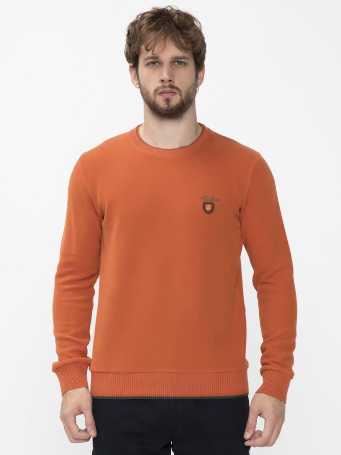 MCL - MCL Bisiklet Yaka Oranj Renk Sweatshirt