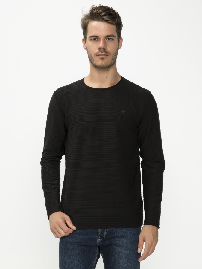 MCL - MCL Bisiklet Yaka Siyah Renk Sweatshirt