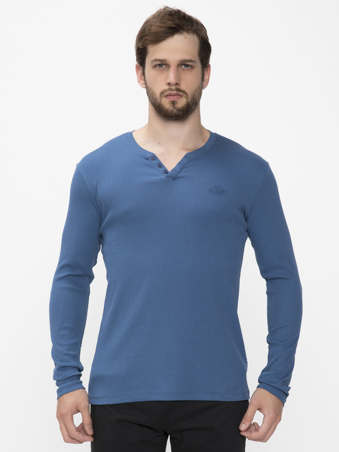 MCL - MCL Patlı Yaka İndigo Renk Sweatshirt