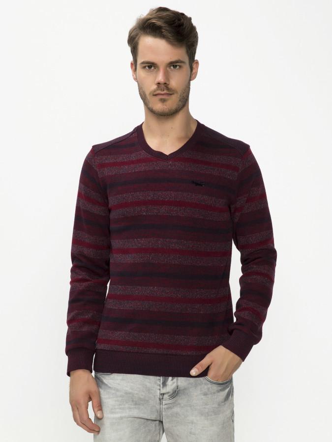 MCL - MCL V Yaka Bordo Renk Sweatshirt