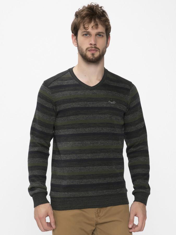 MCL - MCL V Yaka Haki Renk Sweatshirt
