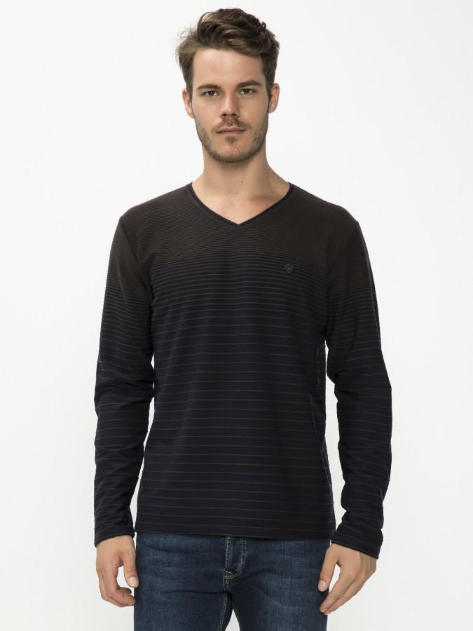 MCL - MCL V Yaka Kahve Renk Sweatshirt