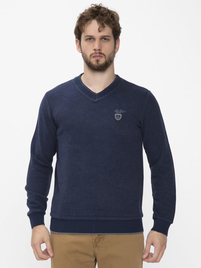 MCL - MCL V Yaka Lacivert Renk Sweatshirt