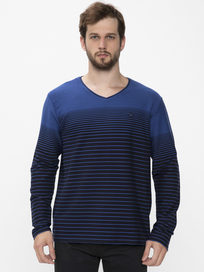 MCL - MCL V Yaka Sax Renk Sweatshirt