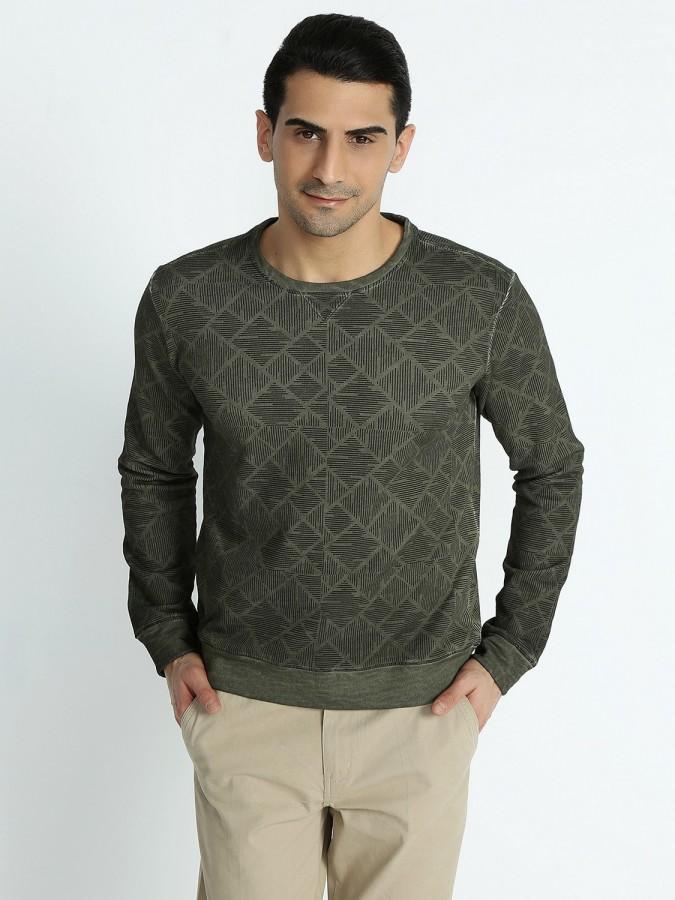 XINT - Xint Bisiklet Yaka Haki Renk Sweatshirt