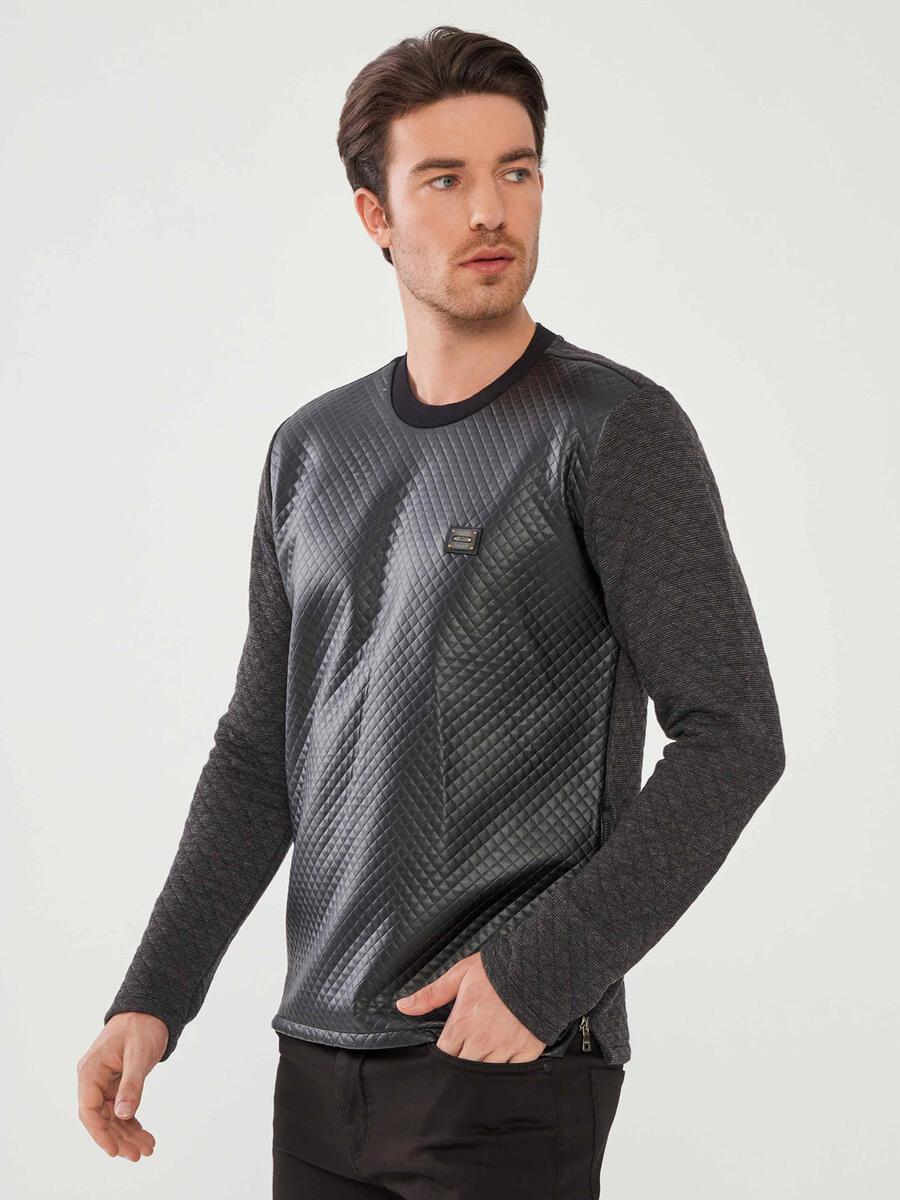 Bisiklet Yaka Pamuklu Slim Fit Sweatshirt