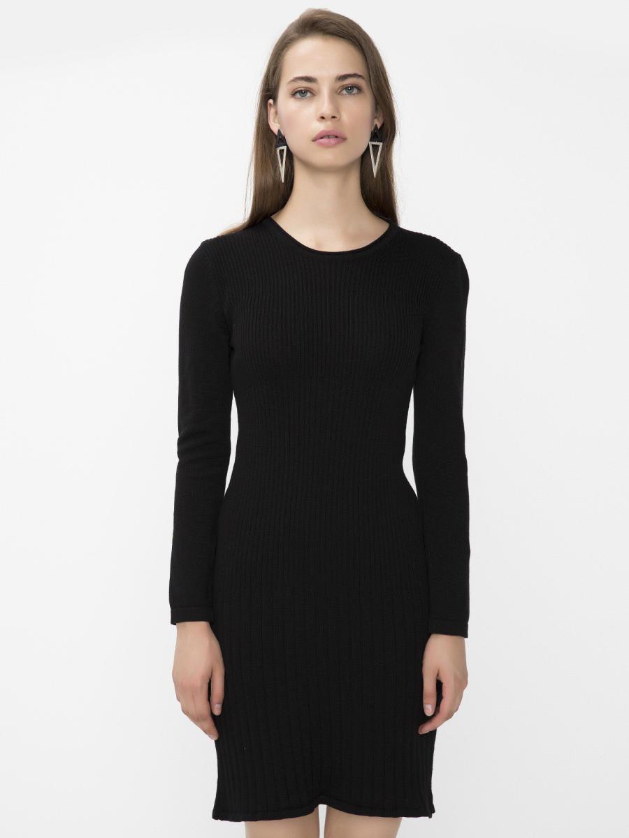 Xint Kapalı Yuvarlak Yaka Siyah Renk Elbise