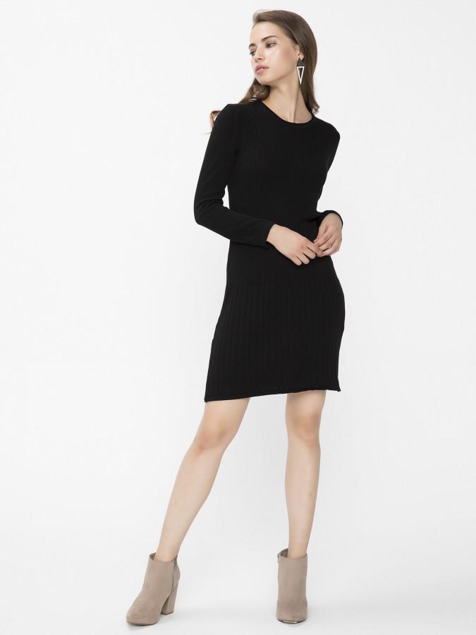 Xint Kapalı Yuvarlak Yaka Siyah Renk Elbise - Thumbnail