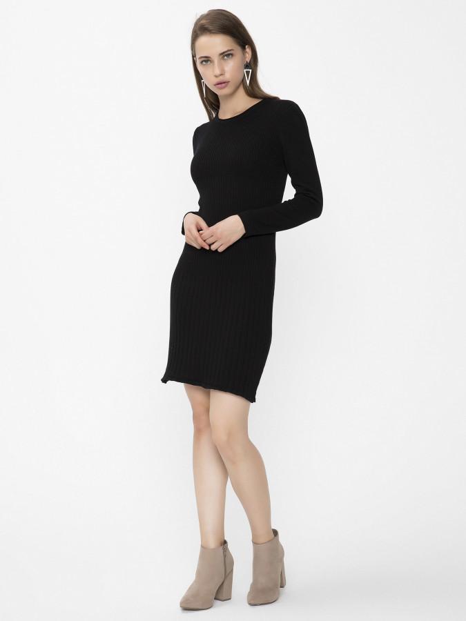 XINT - Xint Kapalı Yuvarlak Yaka Siyah Renk Elbise (1)