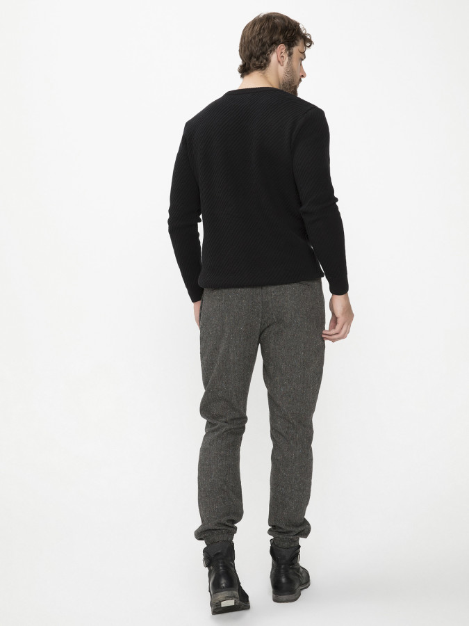 Xint Paçaları Lastikli Siyah Renk Pantolon - Thumbnail