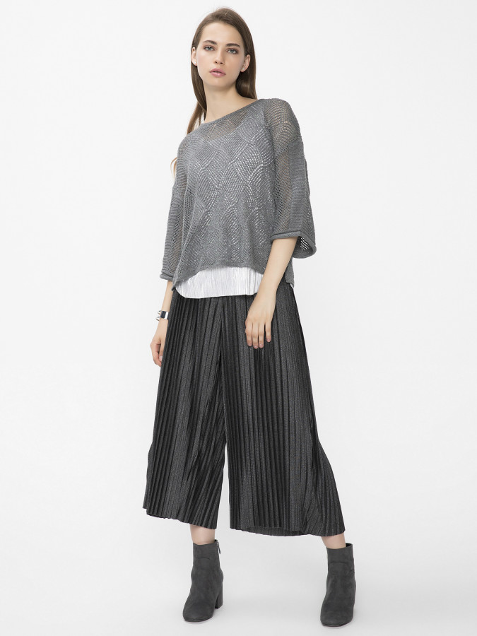 XINT - Xint Piliseli Culotte Antra Renk Pantolon