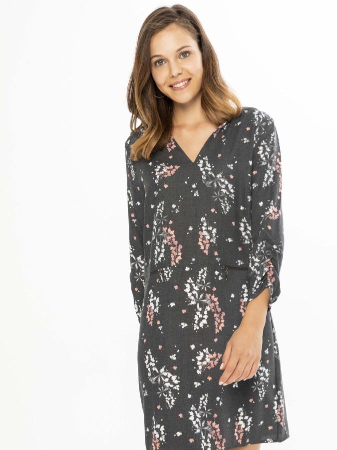 XINT - Xint V Yaka Desenli Geniş Kesim Elbise (1)