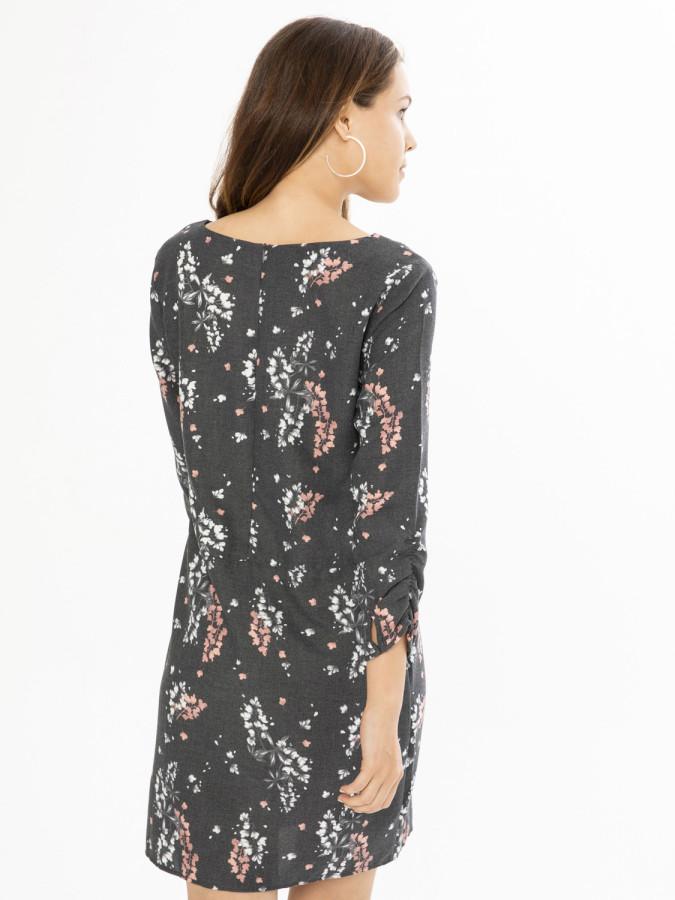 Xint V Yaka Desenli Geniş Kesim Elbise - Thumbnail