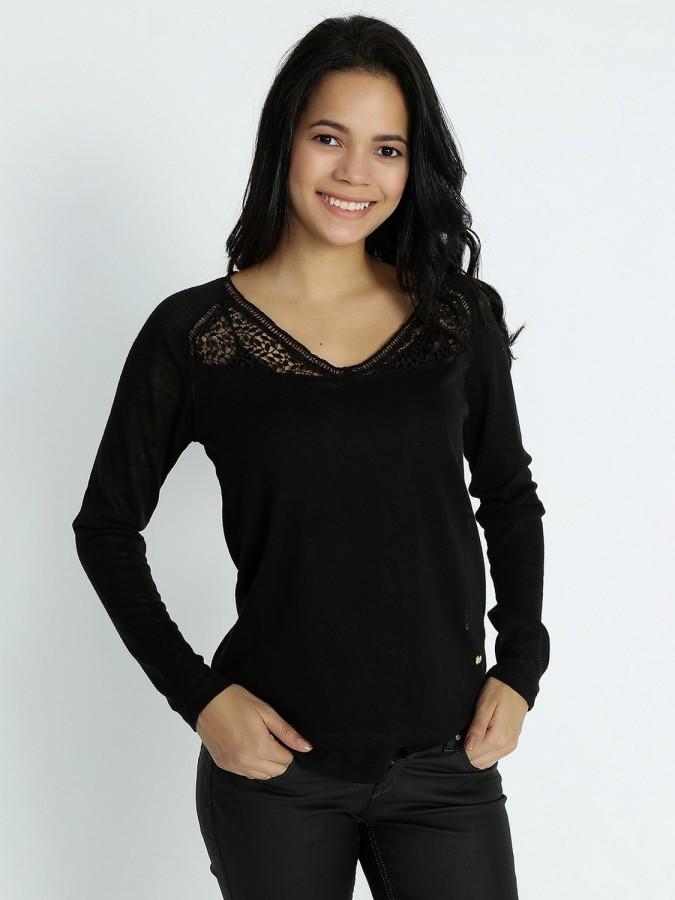 XINT - Xint V Yaka Siyah Renk Bluz