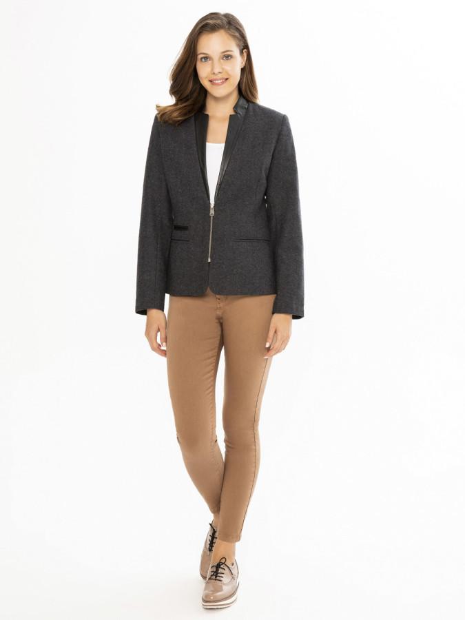 XINT - Xint Yakası Derili Slim Fit Ceket (1)