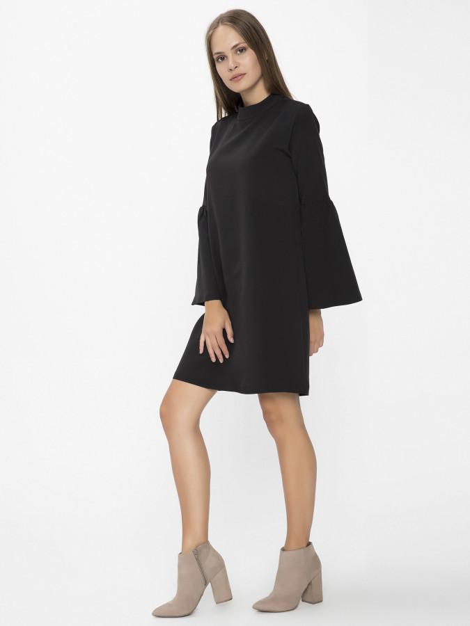XINT - Xint Yarım Dik Yaka Siyah Renk Elbise
