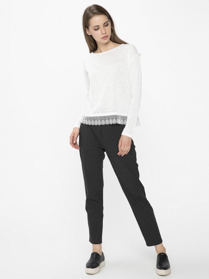 XINT - Xint Yüksek Belli Çizgili Pantolon