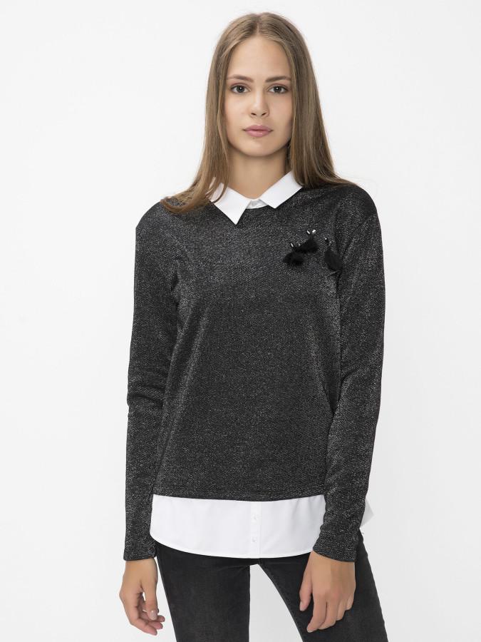 XINT - Xint Yuvarlak Yaka Siyah Renk Sweatshirt